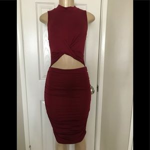"Fashion Nova ""Heart 💕 Hips Burgundy Knit Dress"